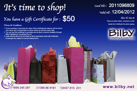 Gift Certifcates And Vouchers For Bilby Cnc Machines And